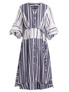 palmer//harding V-neck striped cotton-poplin dress