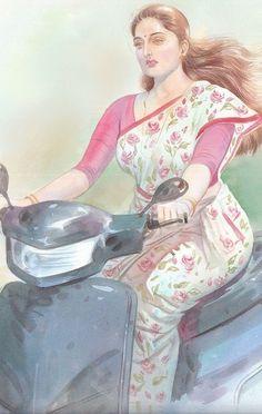 Indian Women Painting, Indian Art Paintings, Old Paintings, Sexy Painting, Woman Painting, Painting & Drawing, Durga Images, Kerala India, India Beauty