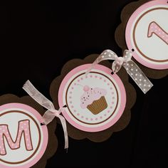 Cupcake Theme I AM 1 MINI BANNER  - Happy First Birthday Party Decorations in Pink and Brown. $10.00, via Etsy.