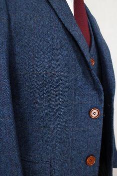 3-Piece Suit Herringbone Tweed Suit Blue Mens Suit-Suit-LeStyleParfait.Com