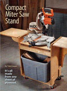 DIY Mobile Miter Saw Stand - Miter Saw