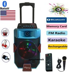 """8"""" TWO WAY Amplified woofer Portable/Rechargeable Tailgate Speaker/Bluetooth/USB #Rider"""