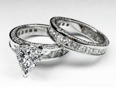 Engagement Ring - Trillion Diamond Bridal set Engagement Ring & Matching Wedding Ring 3.76 TCW in 14K White Gold - ES380TRBS