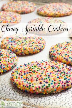 and chewy sprinkle cookies are easy to make and beautiful to look at. Color coordinate to match the holiday or party theme.Soft and chewy sprinkle cookies are easy to make and beautiful to look at. Color coordinate to match the holiday or party theme. Cake Mix Cookie Recipes, Best Cookie Recipes, Yummy Cookies, Sweet Recipes, Cookie Mixes, Sugar Cookie Recipe Easy, Instant Recipes, Cupcake Recipes, Asian Recipes