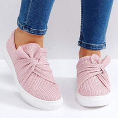 Summer Autumn Casual Women Sneakers Shoe Bow Women Breathable Flats Slip On Canvas Loafers Footwear Color Pink Shoe Size 5 Sneakers Mode, Slip On Sneakers, Slip On Shoes, Women's Shoes, Cute Shoes, Flat Shoes, Shoes Style, Shoes Sneakers, Flat Booties