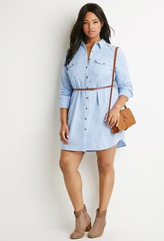 Plus Size Belted Chambray Shirt Dress | Forever 21 PLUS - 2000162132
