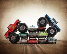 Bigfoot Vs. Awesome Kong Car Crush Boys Room Decor Photo Print by Saint and Sailor Studios on Etsy