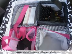 My mobile office - Part 3 - My Thirty-One products keep me organized on the go! I use the Square Utility Tote with 4 Little Carry All bins to store extra pens, CER Cards, Business Cards and any other extras.  http://www.mythirtyone.com/CarmenCurts/