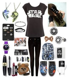 """I just gone done seeing Star Wars"" by katlanacross ❤ liked on Polyvore featuring 7 For All Mankind, Vans, Max Factor, R2, Buckle-Down and starwars"