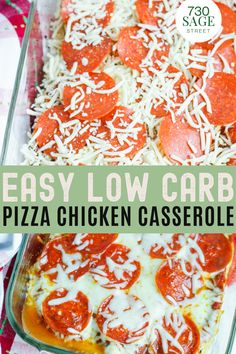 This pepperoni pizza chicken recipe is so easy to make and is a crowd pleaser. Plus it's keto-friendly if you are trying to cut back on the carbs. #lowcarb #keto #casserole #chicken #pizza Ketogenic Recipes, Keto Recipes, Snack Recipes, Healthy Recipes, Snacks, Best Low Carb Recipes, Low Carb Chicken Recipes, Favorite Recipes, Low Carb Pizza