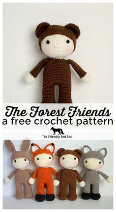 Friendly Barry- a free crochet pattern - The Friendly Red Fox. This free crochet bear pattern was inspired by the lost boys in Peter Pan! Perfectly huggable at 10 inches tall this would be a great baby shower gift!
