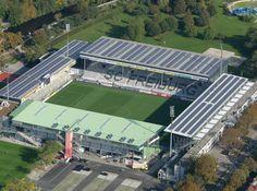 Mage Solar Stadium, Freiburg im Breisgau, Germany Sc Freiburg, German Football Clubs, European Football, Soccer Stadium, Football Stadiums, Union Berlin, Soccer Academy, Run Tour, Forest Cabin