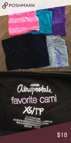 Aeropostale favorite cami. Favorite cami, by Aeropostale. Bundle of 6. Built in bra. Colors are purple, teal, striped pink, grey with purple Aero logo, navy blue and black. All in great condition, a few worn once and a few never worn at all! Aeropostale Tops Camisoles