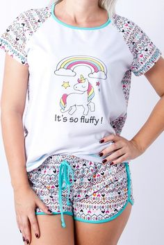 Pijama de Unicórnio Fem. Adulto/Juvenil Cute Pjs, Cute Pajamas, Gucci Tshirt, Unicorn Outfit, Kawaii Fashion, Comfortable Fashion, Pyjamas, Fashion Outfits, Womens Fashion