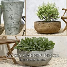 Kinsey Garden Decor Southwestern Modern Large Bowl And Tall Round Cone Cast  Stone Planters. Concrete