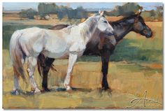 "Jill Soukup. ""Dark And Light Horses III"". Oil"