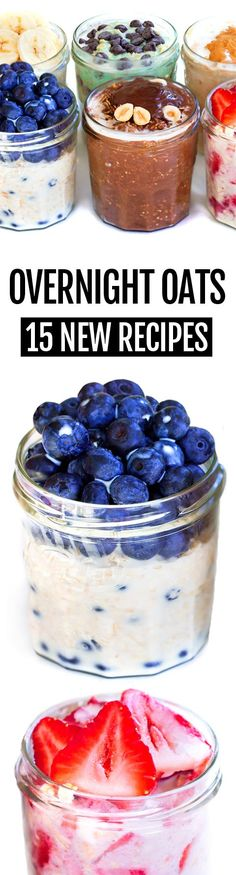 Oats - 15 NEW Recipes! - Overnight Oats, with 15 different flavors for breakfast -Overnight Oats - 15 NEW Recipes! - Overnight Oats, with 15 different flavors for breakfast - Healthy Breakfast Meal Prep, Breakfast Smoothie Recipes, Brunch Recipes, New Recipes, Whole Food Recipes, Cooking Recipes, Vegan Breakfast, Breakfast Ideas, Healthy Smoothies
