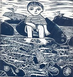 'Beautiful single colour lino print – the joy of floating a little driftwood boat in a rockpool! Ed Boxall is an artist and illustrator and lives in the seaside town of Hastings Linocut Prints, Art Prints, Block Prints, Encaustic Painting, Abstract Paintings, Expressive Art, Rock Pools, Art Et Illustration, Wood Engraving