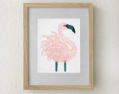 Blush pink home decor, Flamingo print art, Flamingo, Flamingo decor, Pink home decor, Pink flamingo, tropical decor, flamingo wall art, bird