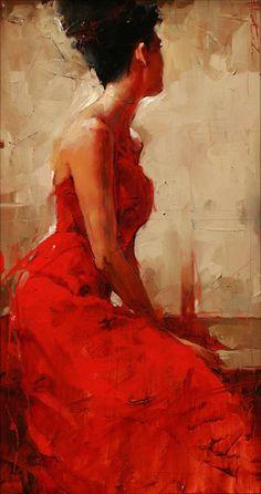 Women In Red Dress Custom Canvas Prints