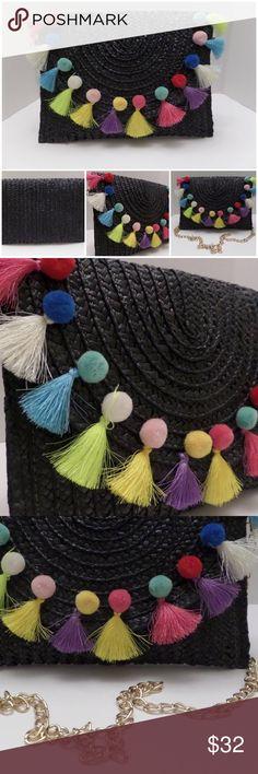 Black Pom-pom Fringe Straw Purse Boho Chic New black straw purse. Bags
