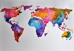 ORIGINAL Abstract World Map Painting Large Watercolor In Rainbow Colors 20x28 Inch