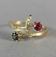 """This is a beautiful Victorian era ring, it combines """"giardinetti"""" ring elements with moi et toi elements. """"Giardinetti"""" rings were known as """"my little garden"""" rings Victorians were crazy for the language of flowers and used this to represent many a sentiment. by LeolaRevives"""
