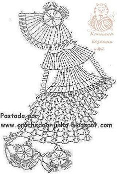 Decorative lady diagram only crinoline lady a crochet salfetka v vide damy shema Lady in a dress crochet chart (scroll down, has pic of finished item too) lots of doll doilies on this page. Filet Crochet, Art Au Crochet, Crochet Diagram, Thread Crochet, Love Crochet, Irish Crochet, Crochet Crafts, Crochet Dolls, Crochet Flowers
