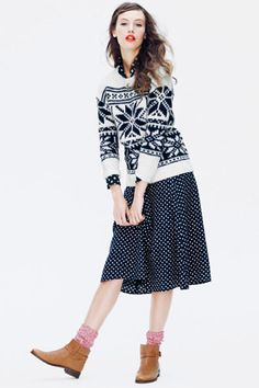 J.Crew demonstrates the fool-proof rule to mixing the same print (in this case, polka-dots). Find them in different sizes, and break them up with a piece in a similar color family (but different pattern).
