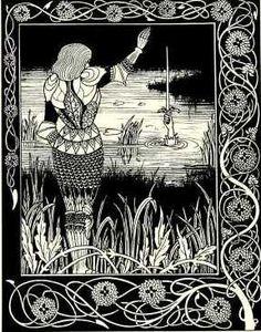 Gravure représentant Sir Bedivere rendant l'épée Excalibur à la Dame du Lac.