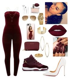 """""""Bad girl in burgundy❤️"""" by flawlessgirlty ❤ liked on Polyvore featuring Christian Louboutin, Lydell NYC, Belk Silverworks, MICHAEL Michael Kors, Casetify, Vernier, Ray-Ban, Prada and Armenta"""