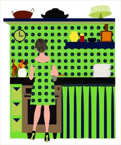 Adriana in her kitchen (art print on paper) Ligia de Medeiros, 2016