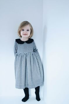 Girls black and white gingham dress. -------------------------------------------------------------------------------------------------------- ABOUT: Handmade comfortable design dress for little girl in gingham dress. *dress also can be ordered in Mother and Daughter matching dresses set.