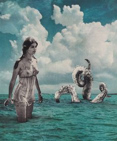Sea Creature  - Collage Art, Cut and Paste, Paper Collage, Surreal Art, Vintage Ephemera, Art Print, Home Decor by GroupofSevenBillion on Etsy https://www.etsy.com/listing/268286173/sea-creature-collage-art-cut-and-paste