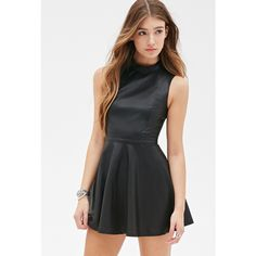 Forever 21 Women's  Faux Leather Skater Dress ($30) ❤ liked on Polyvore featuring dresses, forever 21 - 1, short skater dress, skater dress, going out dresses, black dress и short dresses