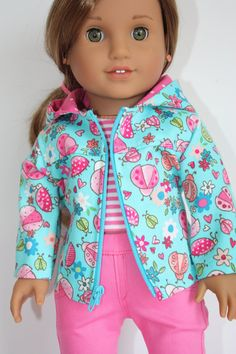 Aqua ladybug spring jacket by grandmasdollcloset on Etsy. Made with the Springtime Fun Jacket pattern. Find it here http://www.pixiefaire.com/products/spring-time-fun-jacket-18-dolls. #pixiefaire #springtimefun