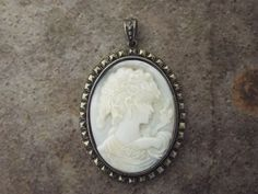 "Mother Of Pearl Marcasite  Sterling Silver Venus Cameo Pendant 2"" #Pendant"