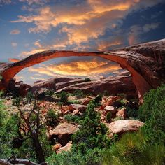 Landscape Arch, the longest arch in Arches National Park, Utah