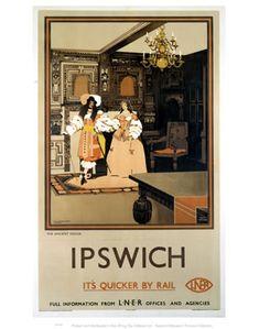 Ipswich 2 British Railway Old Retro Vintage Rail Advert Manor Picture Poster