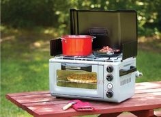 Coleman-Propane-Portable-InstaStart-2-Burners-Stove-Oven-Combo-for-Camping