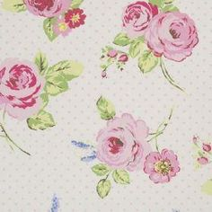 English Rose - Chintz - Cream cotton fabric with vintage pink and green floral rose design and spot pattern background from Studio G Rose Curtains, Cotton Curtains, Curtain Fabric, Cotton Fabric, Floral Fabric, Floral Prints, Oilcloth Tablecloth, Vinyl Tablecloth, Tablecloths