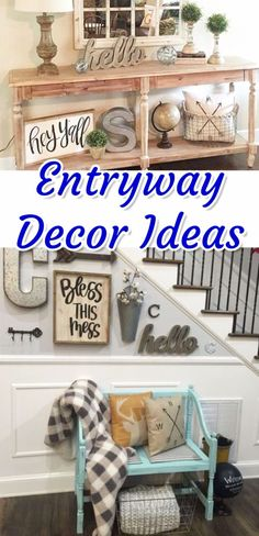 Foyer Decorating Ideas - Entryway decor ideas for a small foyer or apartment entryway. Entryway benches, DIY entryway ideas, rustic, farmhouse entryway and foyer decorating pictures. Easy DIY that you can do at home - easy DIY that looks hard but is EASY. Apartment Entrance, Rustic Apartment, Hallway Decorating, Entryway Decor, Entryway Ideas, Hallway Ideas, Narrow Entryway, Door Entryway, Entry Foyer