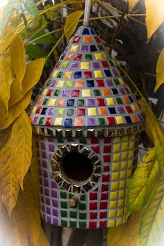 Cute mosaic birdhouse I might try to imitate