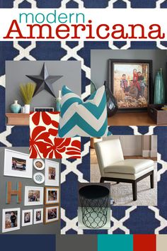 A fresh spin on an old favorite - Modern Americana   Modern Americana Family Room Inspiration   Teal and Lime
