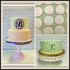 Monograms on Buttercream cakes and cookies