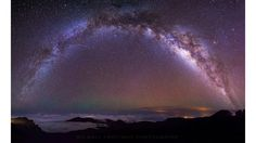 """Galactic Rainbow"": Stargazing on top of Maui's Haleakala Volcano.  (Submitted by Michael Trofimov)"