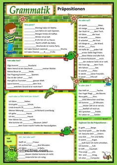 Präpositionen                                                                                                                                                      Mehr German Grammar, German Words, Grammar Rules, Grammar Lessons, Learn German, Learn English, German Resources, Kindergarten Portfolio, Vocabulary Builder