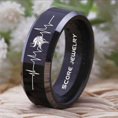 Black Tungsten Band with Domed Edge NFL Football Minnesota Vikings Logo Ring