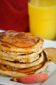 "<p><em><strong>Cinnamon Peach Pancakes</strong> </em></p> <p>Get the recipe <strong><a href=""http://www.365daysofbakingandmore.com/cinnamon-peach-pancakes/"">here</a></strong></p>"