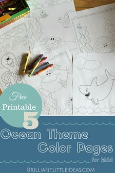 Free Printable Ocean Color sheets. Big figh, Shark, Octopus, Jellyfish, turtle, clam & Starfish color pages for your Fun Friday. 5 Ocean Theme Color Pages